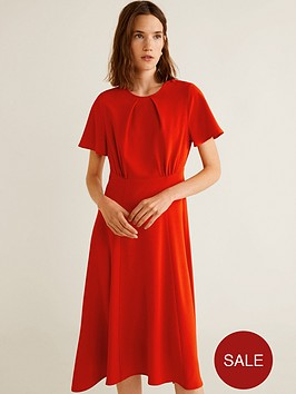 mango-flared-short-sleeve-flowy-midi-dress-red