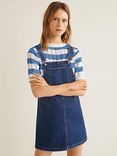 4e4af55ba9 Mango Denim Dungaree Pinny Dress - Dark Blue