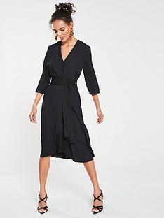 mango-satin-tie-waist-dress-black