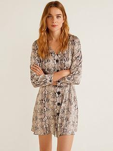 e87438e5c8 Mango Satin Dress - Snake Print