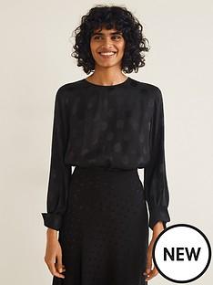 mango-jacquard-spot-blouse-black