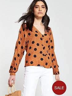 mango-polka-dot-blouse-brown