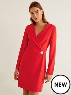mango-long-sleeve-button-detail-dress-red