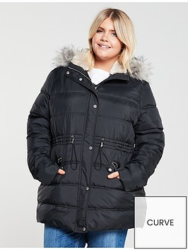 v-by-very-curve-faux-fur-longline-padded-coat-black