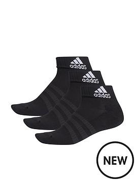 3 Stripe Performance Ankle Sock 3pk - Black