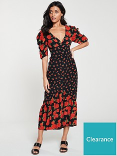 v-by-very-mixed-print-midi-dress-blackfloral