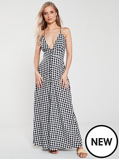 112ad42f12 V by Very Button Front Gingham V Neck Maxi Dress - Gingham