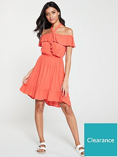 v-by-very-bardot-halter-crinkle-rayon-summer-dress-coral