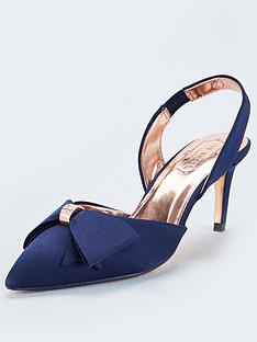 36bcb523ac0 Ted Baker Aidelas Bow Sling Back Heels - Navy