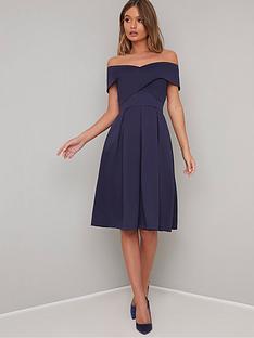 3245af2d28c Chi Chi London Bay Bardot Full Skirt Dress - Navy