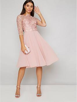 180593cc833c7 Chi Chi London Genesis Lace Top Dress - Rose Gold | littlewoodsireland.ie