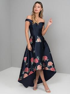 chi-chi-london-hazel-bardot-high-low-dipped-hem-dress-navy