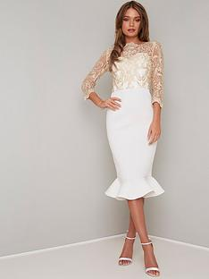 chi-chi-london-scuba-aga-fluted-hem-bodycon-midi-dress-white