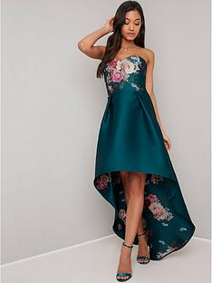 chi-chi-london-brie-strapless-printed-dip-hem-dress-teal