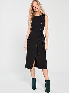 warehouse-button-crepe-dress-black