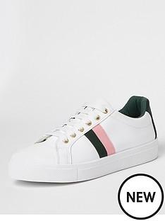 river-island-side-stripe-trainer-white