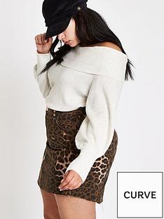 4babc87f86c RI Plus Animal Print Denim Skirt