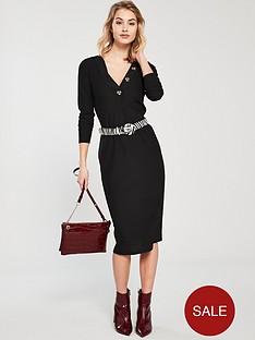 v-by-very-ribbed-mock-horn-dress-black