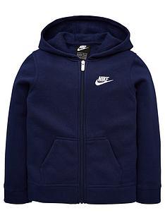 nike-childrens-club-fleece-fz-hoodie-navy