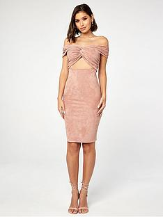 the-girl-code-suedette-twist-and-knot-bardot-pencil-dress-blush