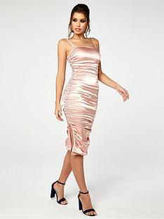 the-girl-code-stretch-satin-ruched-midi-dress-champagne
