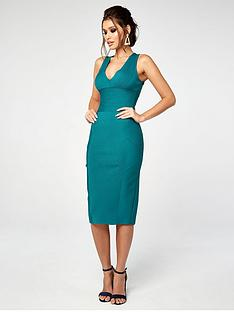 the-girl-code-rib-bandage-panel-midi-dress-teal