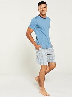 v-by-very-blue-t-shirtnbspand-check-bottoms-pyjama-set-blue