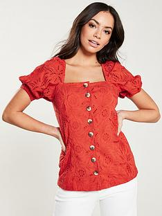v-by-very-square-neck-broderie-top-orange