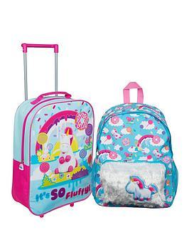Minions Fluffy Unicorn 16inch Backpack & Trolley Bag Set