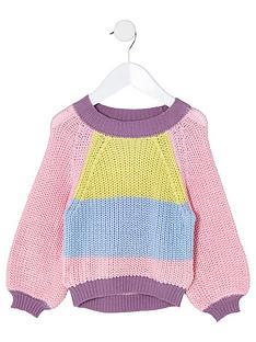 river-island-mini-mini-girls-colour-block-slouch-jumper-pink