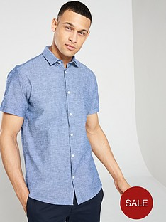 3233c6cc9a Selected Homme Regular Linen Classic Short Sleeve Shirt - Blue