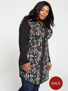 oasis-curve-flora-woven-front-jersey-shirt-dress-black