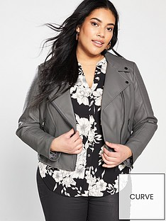 oasis-curve-faux-leather-stitch-biker-jacket-mid-grey