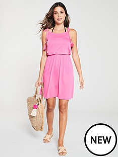 v-by-very-shirred-waist-tie-shoulder-jersey-beach-dress-pink