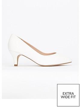 c1dbf44234cc Evans Evans Extra Wide Fit White Kitten Court Shoe ...