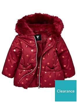 mini-v-by-very-girls-faux-fur-foil-spot-coat-raspberry