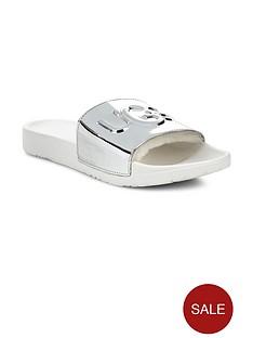 1600338405: UGG Royale Graphic Metallic Slider Shoes - Silver