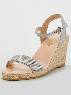 ed48e894eb6 Wallis Wallis Diamante One Band Espadrille Wedge