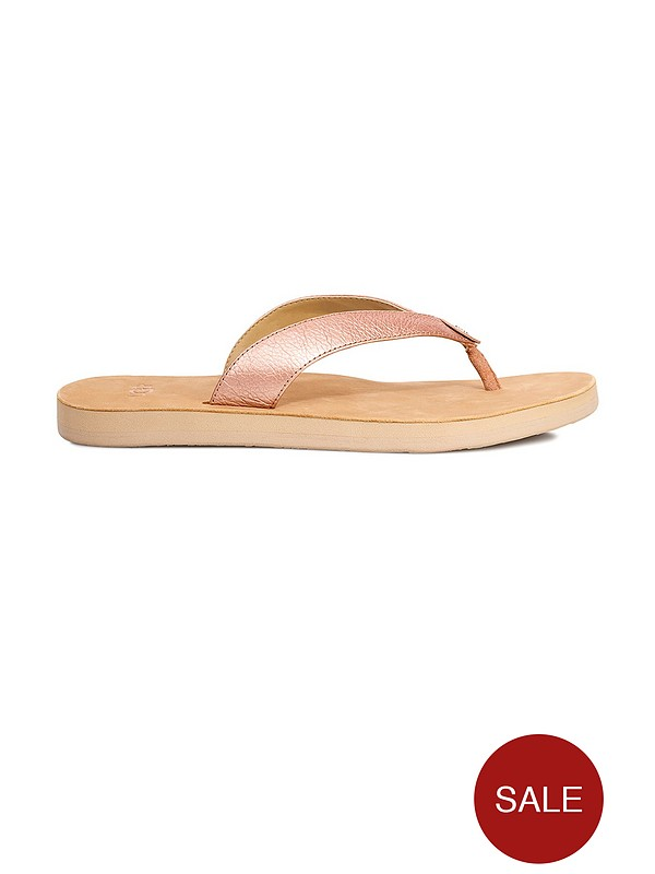 Tawney Metallic Flip Flop Shoes Rose Gold
