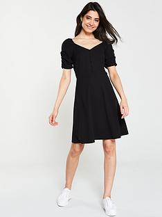 v-by-very-button-through-jersey-skater-dress-black