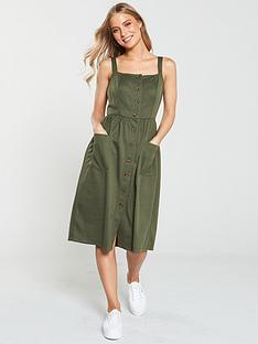 v-by-very-jersey-jacquard-button-through-dress-khaki