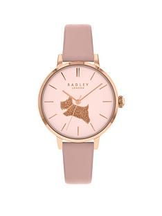 radley-radley-champagne-and-gold-glitter-dog-dial-taupe-leather-strap-ladies-watch