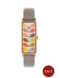 orla-kiely-colourful-stem-print-rectangular-dial-grey-leather-strap-ladies-watch