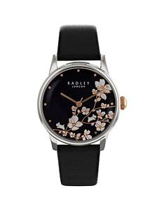 radley-radley-black-and-floral-dial-with-dog-charm-black-leather-strap-ladies-watch