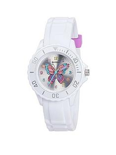tikkers-tikkers-silver-sunray-butterfly-print-dial-white-silicone-strap-kids-watch