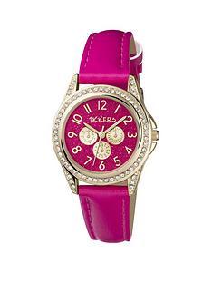 tikkers-tikkers-bright-pink-glitter-and-gold-detail-multi-dial-pink-leather-strap-kids-watch
