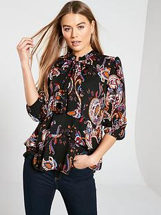5348e1e65406af V by Very Longline Pussybow Blouse - Paisley Print