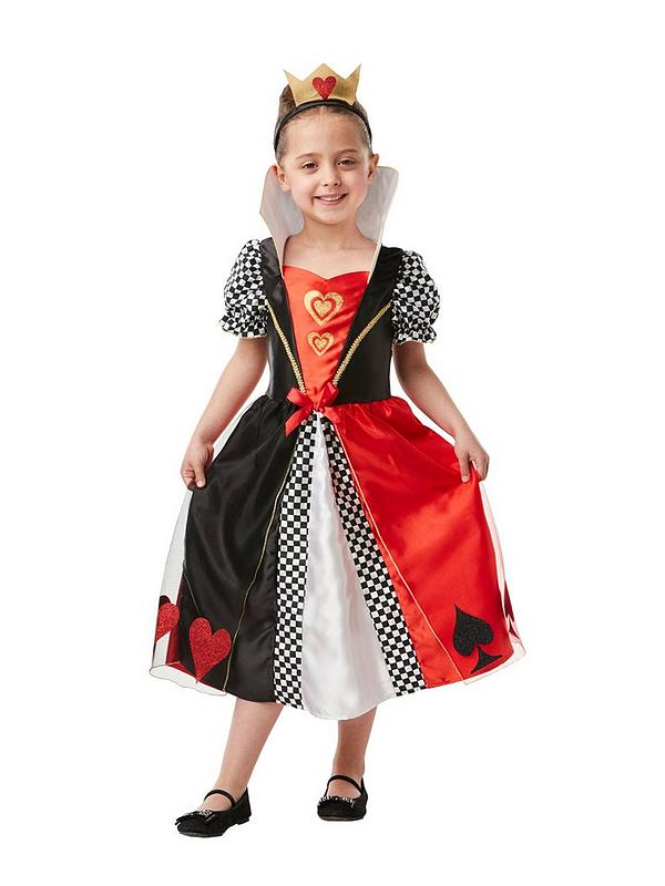 Teen Queen of Hearts Costume Girls Child Alice Book Day Kids Fancy Dress Outfit
