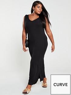 v-by-very-curve-split-jersey-maxi-dress-black