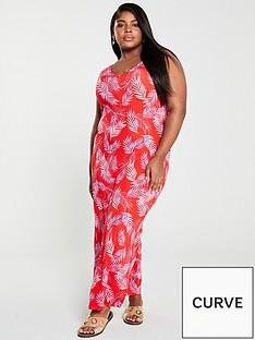 v-by-very-curve-split-jersey-maxi-dress-print